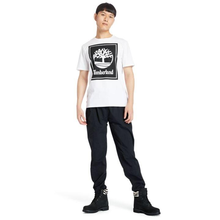 Stack Logo Amblem Baskılı Beyaz Erkek T-Shirt