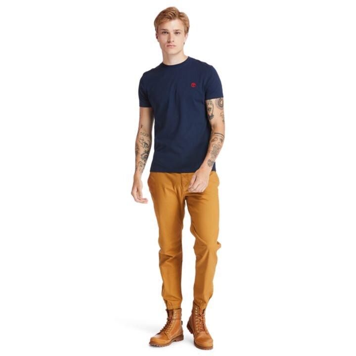 Dunstan River Sıfır Yaka Koyu Mavi Erkek T-Shirt