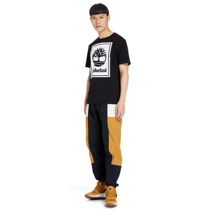 Stack Logo Amblem Baskılı Siyah Erkek T-Shirt