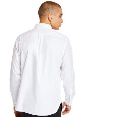Erkek Ela River Elevated Oxford Solid Uzun Kollu Beyaz Gömlek