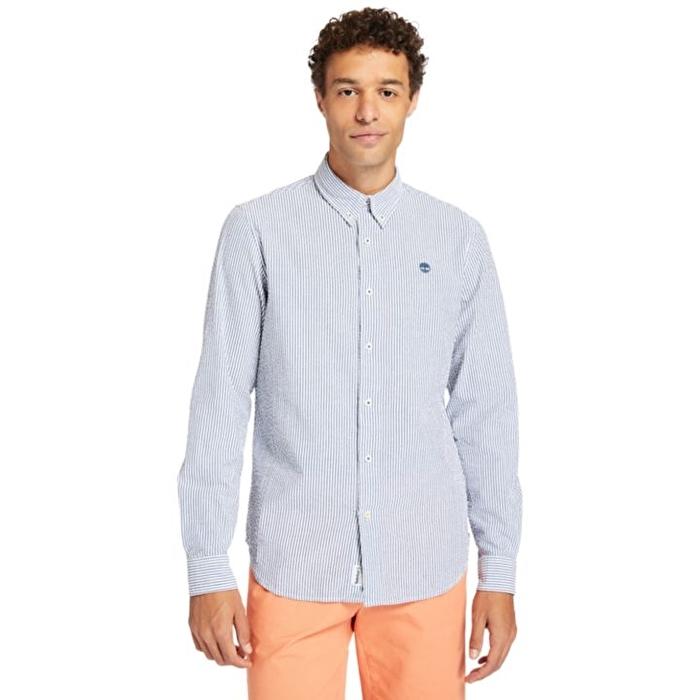 Lacivert Beyaz Çizgili Erkek Gömlek