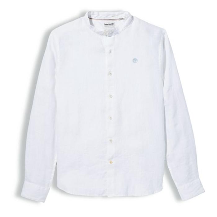 Mill River Beyaz Erkek Keten Gömlek
