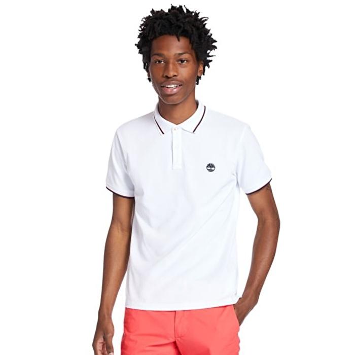 Millers River Erkek Beyaz Çizgili Polo Yaka T-Shirt
