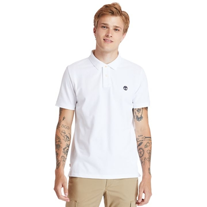 Millers River Organik Pamuklu Beyaz Polo Yaka T-shirt