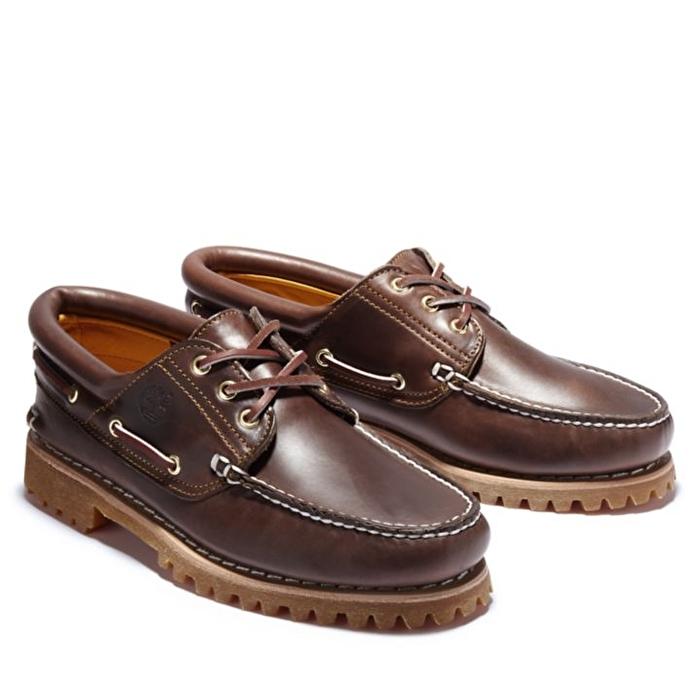 Authentic 3-Eye Kahverengi Klasik Erkek Tekne Ayakkabısı