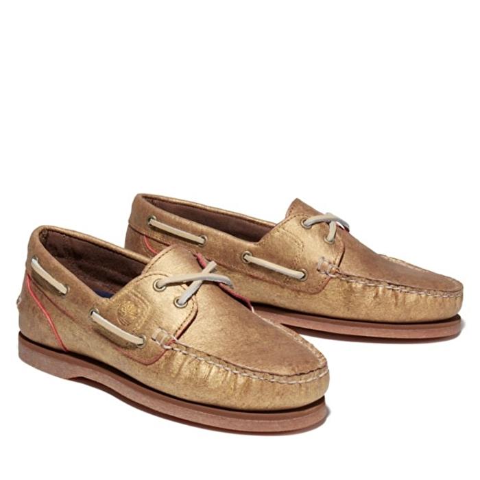 Altın Renk Kadın Klasik Tekne Ayakkabısı