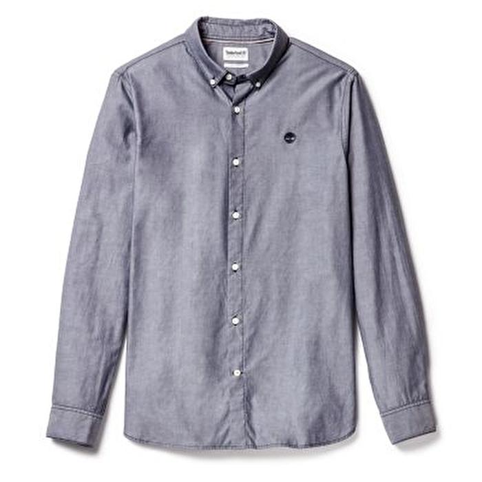 Erkek Ela River Elevated Oxford Solid Uzun Kollu Mavi Gömlek