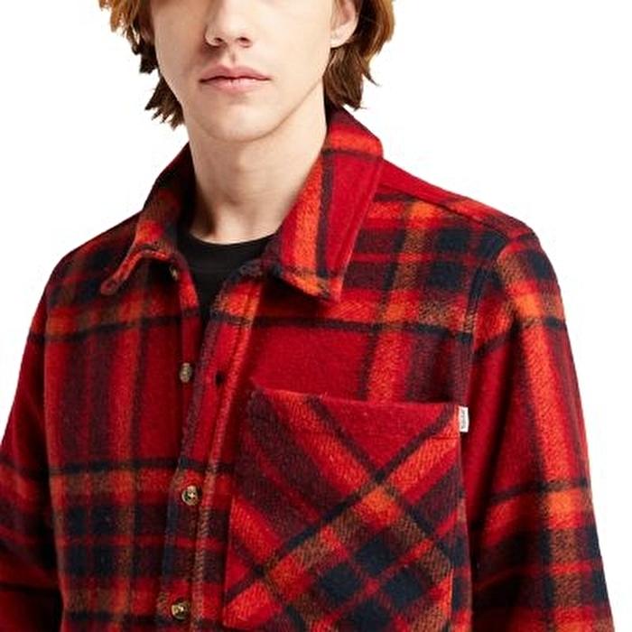 Men's Plaid Kırmızı Polar Oversize Gömlek